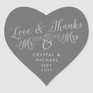 Grijs Hart - het Zilveren Huwelijk van de Liefde Hart Sticker