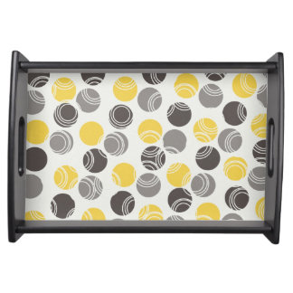 Grijs, Houtskool, Gele Orbs op Wit Dienend Dienblad