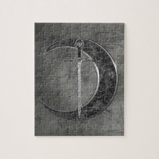 Grijs Keltisch Maan en Zwaard Legpuzzel