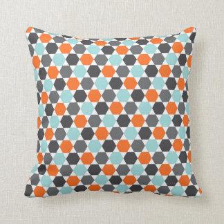 Grijs oranje aqua blauw geometrisch hexagon sierkussen