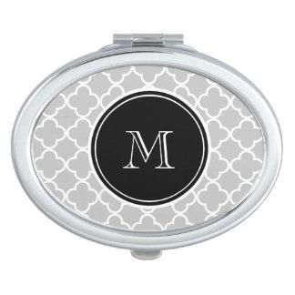 Grijs Quatrefoil Patroon, Zwart Monogram Makeup Spiegel