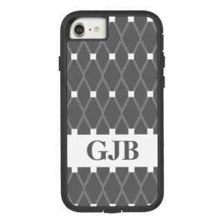 Grijs Rooster Argyle met monogram Case-Mate Tough Extreme iPhone 8/7 Hoesje