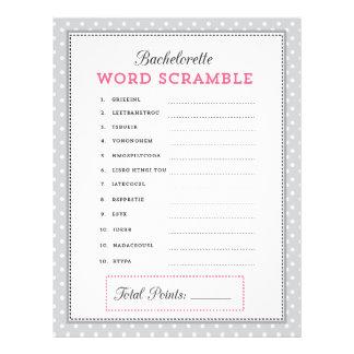 Grijs & Roze Word van de Vrijgezellin gooit Spel d Fullcolor Folder