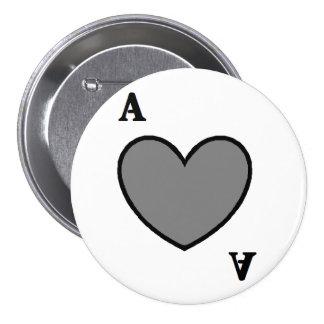 Grijze Aas Ronde Button 7,6 Cm