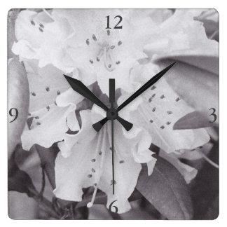 Grijze Bloemen Vierkante Klok Vierkante Klok