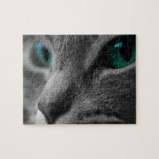 Grijze Bont- Kat met het Slaan van Groene Ogen Legpuzzel