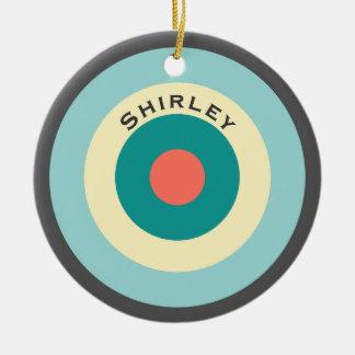 Grijze Combinatie Bullseye door Shirley Taylor Rond Keramisch Ornament