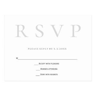 Grijze eenvoudige huwelijks rsvp briefkaarten