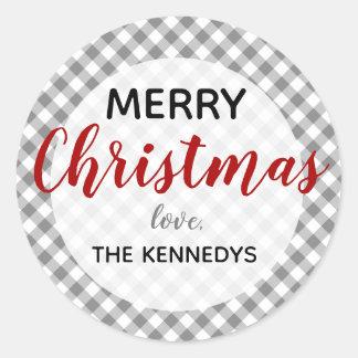 Grijze en Witte Vrolijke Kerstmis van de Gingang Ronde Sticker