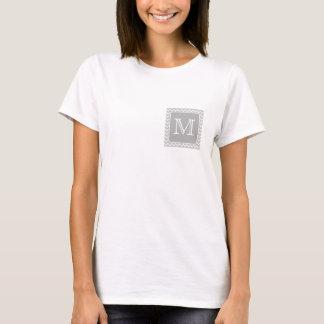 Grijze en Witte Zigzag met het Monogram van de T Shirt