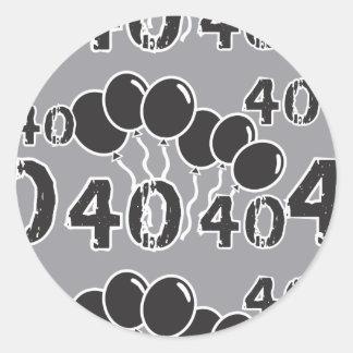 Grijze en ZWARTE 40ste Verjaardag - 40 yrs oude Ronde Sticker