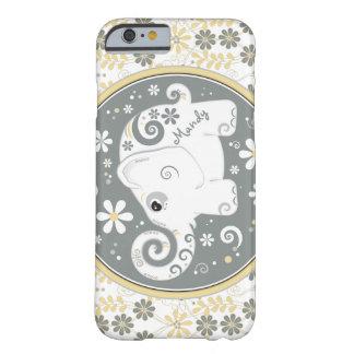 Grijze Gele Witte BloemeniPhone 6 van de Olifant Barely There iPhone 6 Hoesje