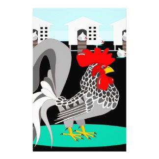 Grijze haan & kippen briefpapier
