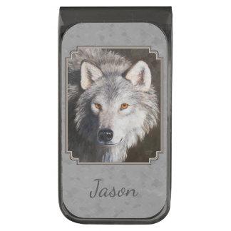 Grijze het Gezicht van de Wolf van het hout Verbronsde Geldclip