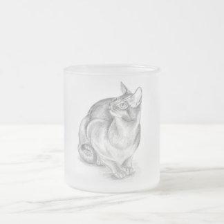 grijze kat berijpte glasmok matglas koffiemok