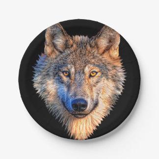 Grijze wolf - wolfsgezicht papieren bordje