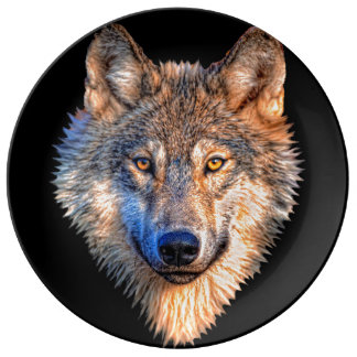 Grijze wolf - wolfsgezicht porseleinen bord