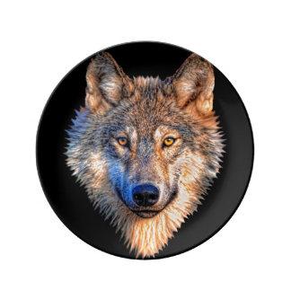 Grijze wolf - wolfsgezicht porseleinen bordje