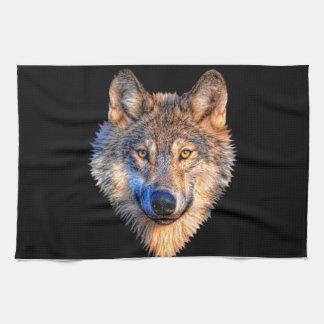 Grijze wolf - wolfsgezicht theedoek