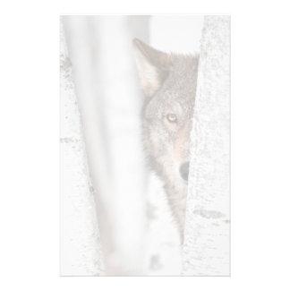 Grijze Wolf (wolfszweer Canis) achter Boom Briefpapier