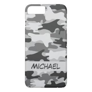 Grijze Zilveren Camouflage Gepersonaliseerde Naam iPhone 8/7 Plus Hoesje