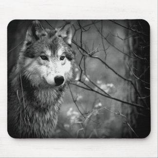 Grijze Zwart-witte Wolf - Muismat