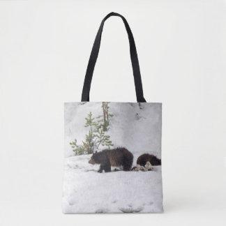 Grizzlys in de Sneeuw helemaal over - het Canvas Draagtas