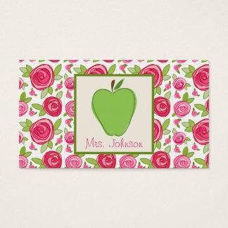 Groen Apple & het Roze Visitekaartje van de Leraar Visitekaartjes