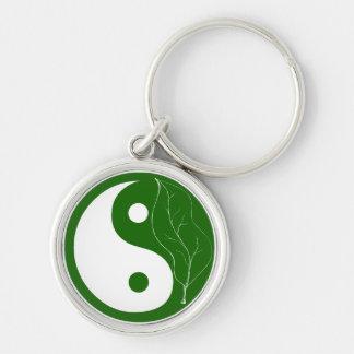 Groen Blad Yin Yang Keychain Sleutelhanger