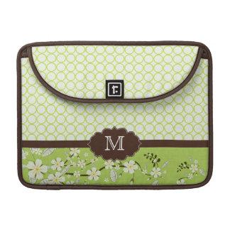 Groen bloemen modern monogram macbook prosleeve sleeves voor MacBook pro