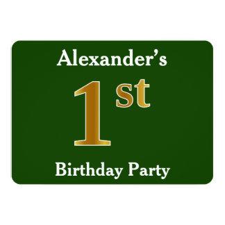 Groen, de Gouden 1st Partij van de Verjaardag Faux 12,7x17,8 Uitnodiging Kaart