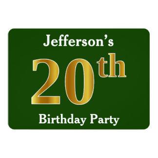 Groen, de Gouden 20ste Partij van de Verjaardag 12,7x17,8 Uitnodiging Kaart