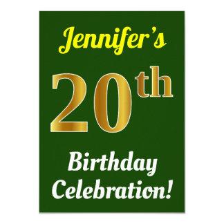 Groen, de Gouden 20ste Viering van de Verjaardag Kaart