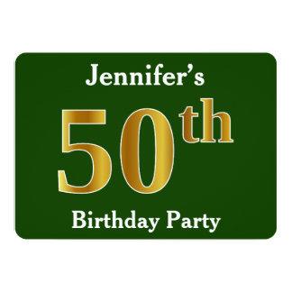 Groen, de Gouden 50ste Partij van de Verjaardag 12,7x17,8 Uitnodiging Kaart