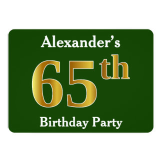 Groen, de Gouden 65ste Partij van de Verjaardag 12,7x17,8 Uitnodiging Kaart