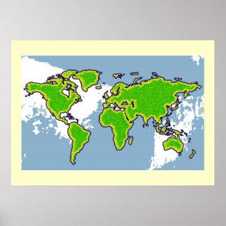 groen de muurdecor van de wereldkaart poster