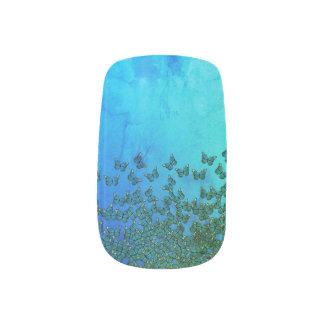 Groen en blauw de spijkerart. van het minx nail art