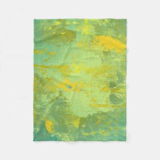 Groen en Geel Abstract Art. Fleece Deken