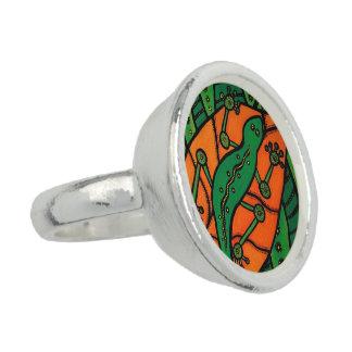 Groen en Oranje gekko Foto Ring