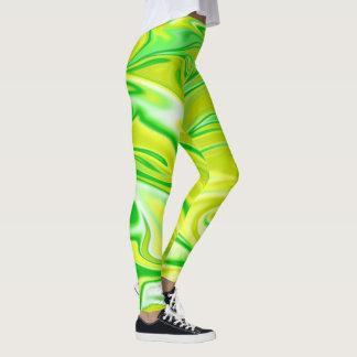 Groen Geel Wit Marmeren Patroon, Leggings