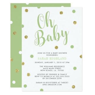 Groen & Goud schitter Oh Baby shower Kaart