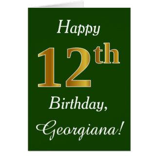 Groen, Gouden 12de Verjaardag Faux + De Naam van Briefkaarten 0