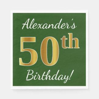Groen, Gouden 50ste Verjaardag Faux + De Naam van Papieren Servet