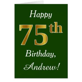 Groen, Gouden 75ste Verjaardag Faux + De Naam van Briefkaarten 0