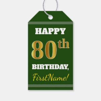 Groen, Gouden 80ste Verjaardag Faux + De Naam van Cadeaulabel