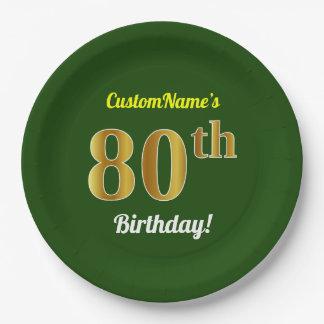 Groen, Gouden 80ste Verjaardag Faux + De Naam van Papieren Bordje