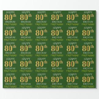 """Groen, Gouden """"GELUKKIGE 80ste VERJAARDAG Faux """" Inpakpapier"""