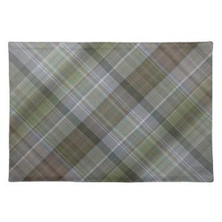 Groen grijs bruin plaidpatroon placemat