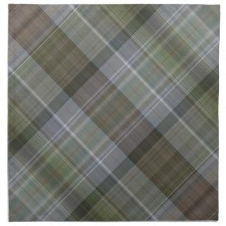 Groen grijs bruin plaidpatroon servet