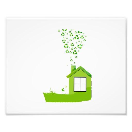 groen huis met recyclene eco design.png van de tek foto afdrukken